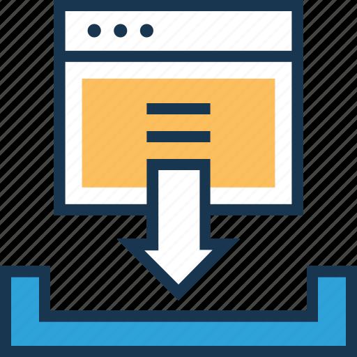 arrow, data, down, download, inbox icon