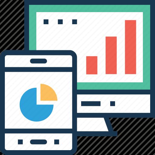 analytics, bar graph, mobile, seo graph, web icon