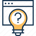bulb, idea generate, question, questioner, think icon