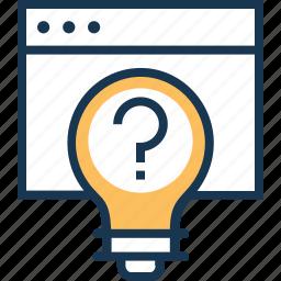 bulb, idea generate, question, questioner, think icon