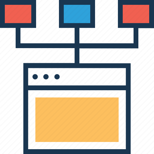 algorithm, flowchart, network, webpage, workflow icon