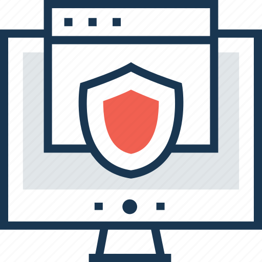 cyber security, lcd, monitor, security, shield icon