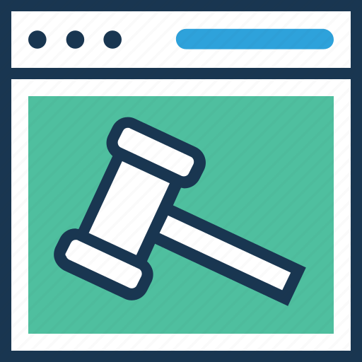 auction, gavel, hammer, mallet, webpage icon