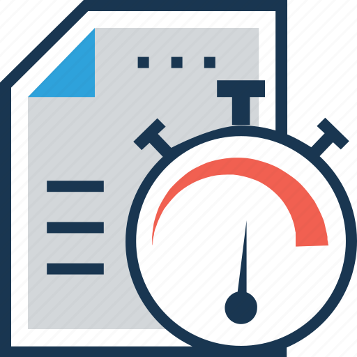 clock, file, management, performance, time management icon