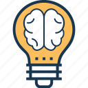 brain, bulb, creative idea, innovation, mind icon
