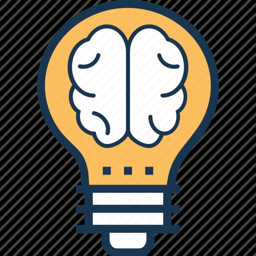 brain, bulb, creative idea, innovation, mind icon