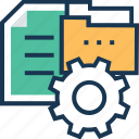 cog, document, file, file management, folder icon