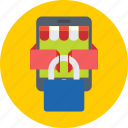 eshop, lock, mobile, mobile shop, shopping icon