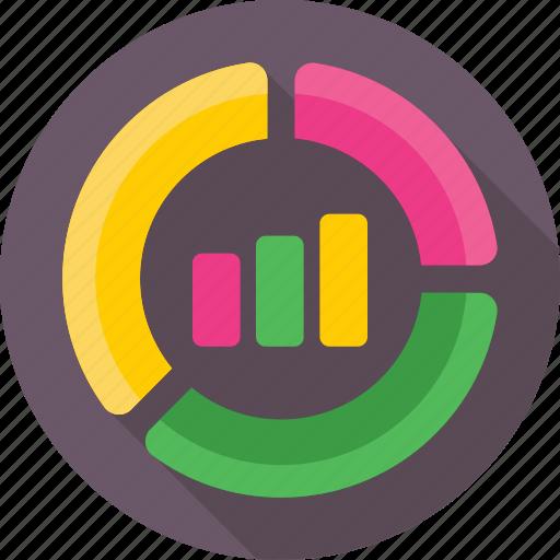 analytics, bar graph, graph, pie chart, statistics icon