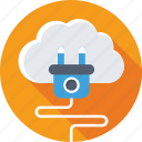 cloud computing, cloud plugin, hosting, icloud, plug icon