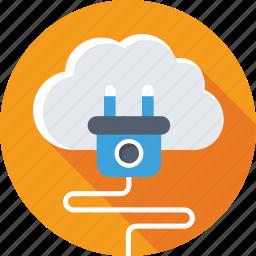cloud computing, cloud plugin, hosting, icloud, plug icon