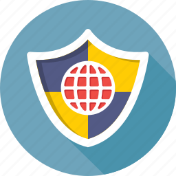cyber security, globe, internet, protection, shield icon