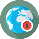 cyber security, globe, internet, lock, protection icon