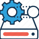 cogwheel, data management, data processing, drive, processing icon