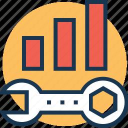bar graph, customization, development, seo, spanner icon