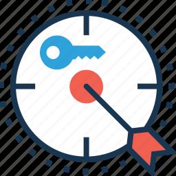 goal, key, keyword, target icon