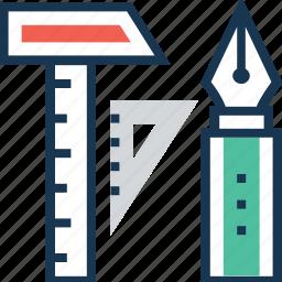 geometry, pen, prototype, ruler, scale icon