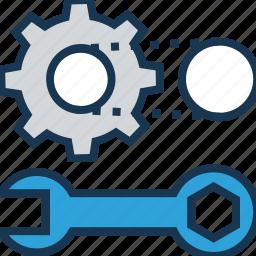 cogwheel, creative service, gear wheel, maintenance, spanner icon