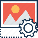 cogwheel, content management, image, landscape, preferences icon