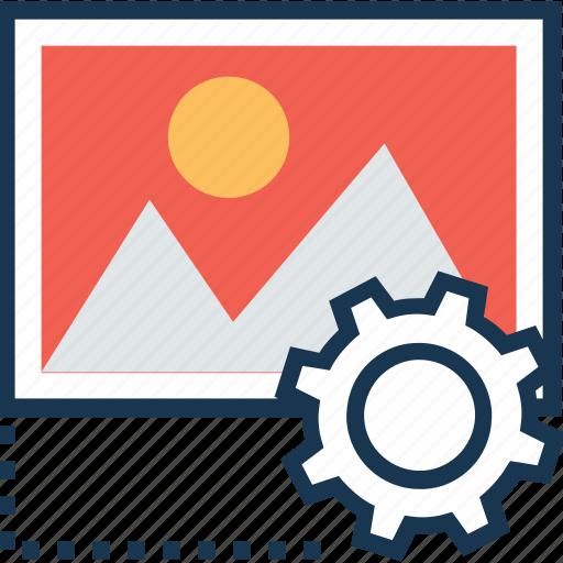 cogwheel, content management, image, landscape, preferences icon