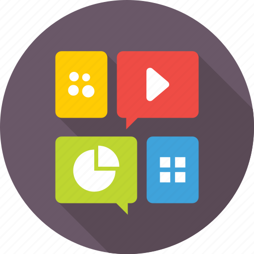 applications, apps, graph, media, mobile menu icon