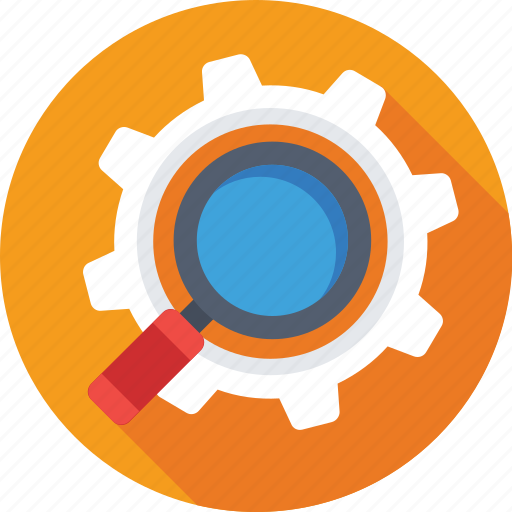 cog, magnifier, optimization, seo, wrench icon