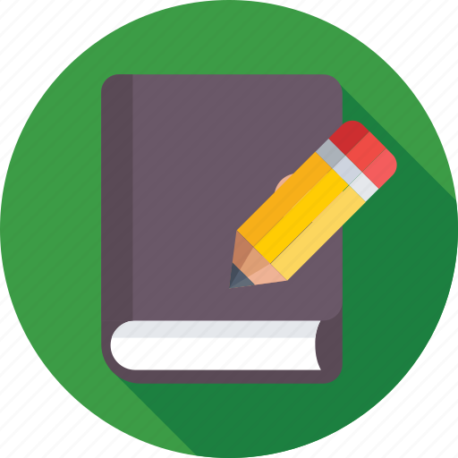 book, education, notebook, pencil, writing icon