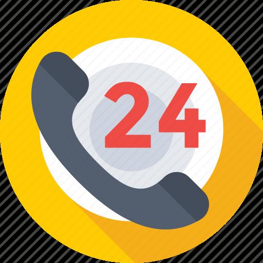 customer service, helpline, hotline, receiver, twenty four hours icon
