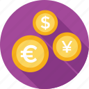 currency, dollar, euro, money, yen icon