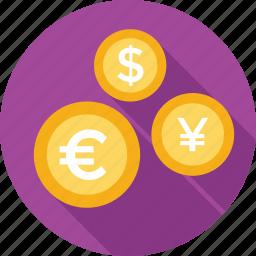 currency, dollar, euro, money, yen icon