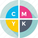 cmyk, color chart, color model, colors, printing icon