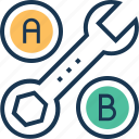 ab testing, conversion, exchange, spanner, testing icon