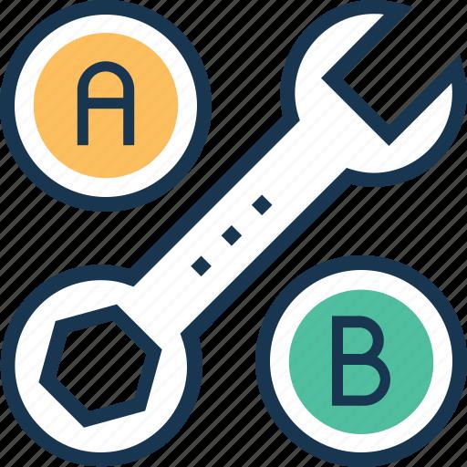 ab testing, conversion, exchange, spanner, testing icon