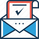 envelope, letter, mailbox, message, verification letter icon