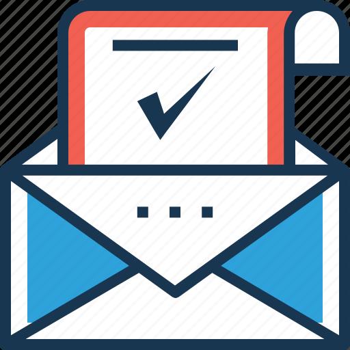 envelope, letter, mailbox, message, verification letter icon