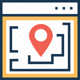 location, map, pin, website, website map icon