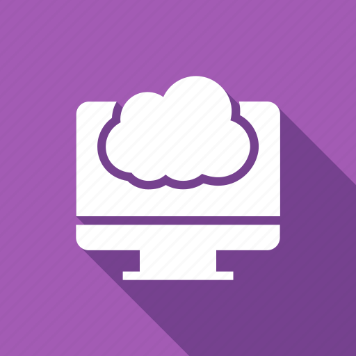 cloud, computer, monitor, screen icon