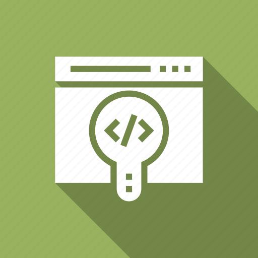 code, internet, magnifier, marketing, search, seo, web icon