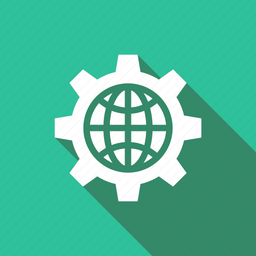 cog, cogwheel, gear, globe, ico, setting icon