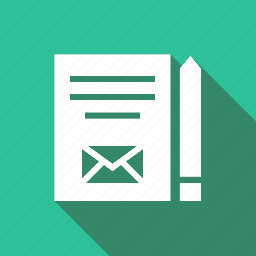 content, envelope, give, mail, pencil, shipping icon