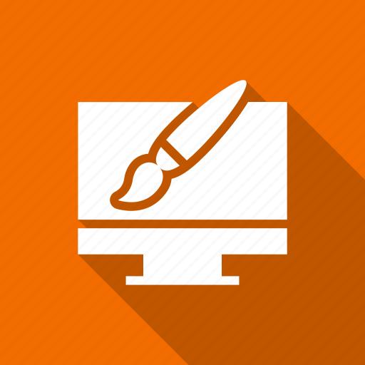 brush, design, graphic, illustration, monitor, pen icon