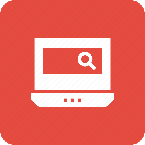 computer, laptop, notebook, pc, screen, search icon