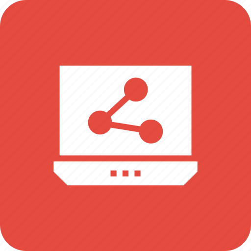 connection, laptop, network, pc, share icon