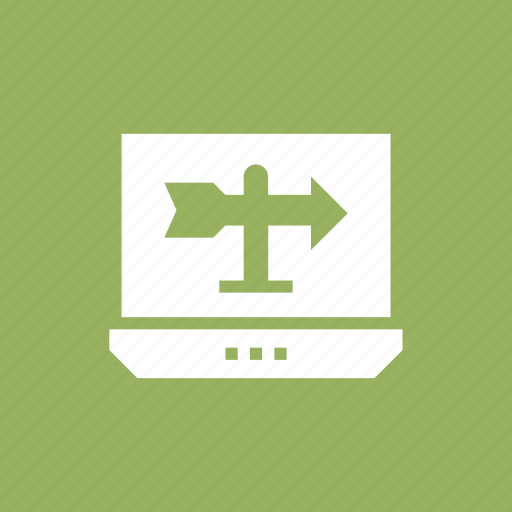 direction, gps, laptop, location, pin icon