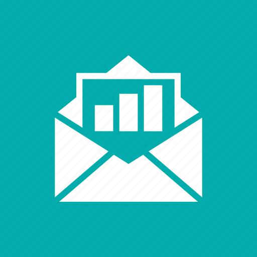envelop, graph, line, report icon