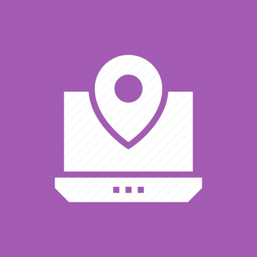 gps, laptop, location, online, pin icon