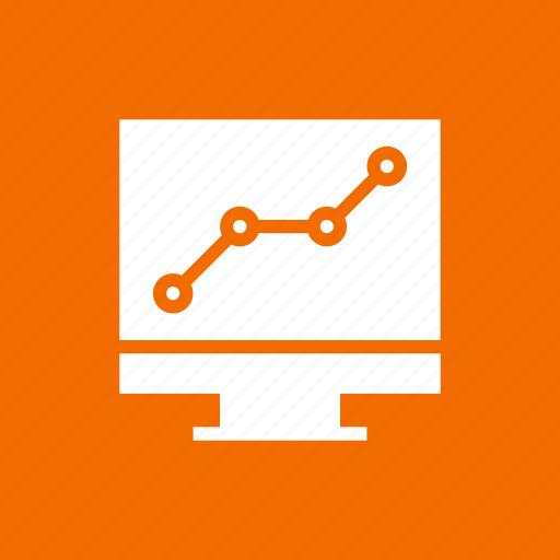 graph, increase, monitor, presentation, screen icon