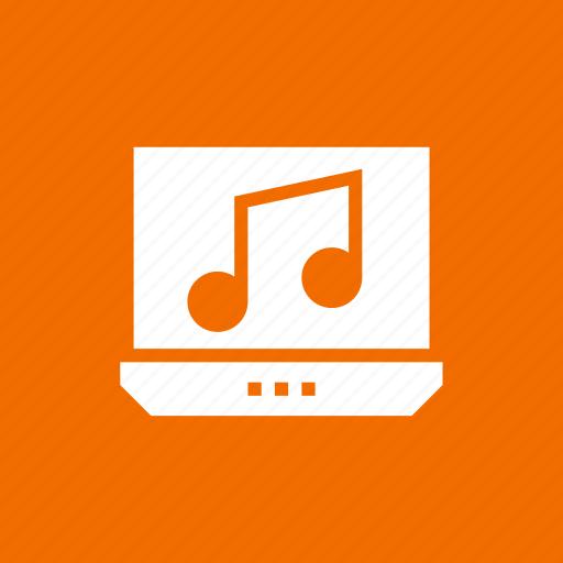 laptop, media, music, note icon