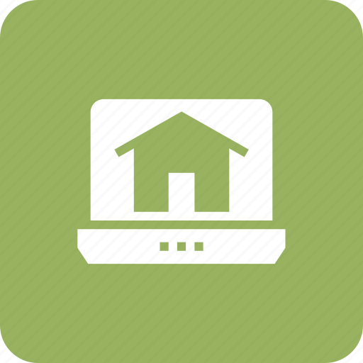 estate, home, house, ico, laptop, online, real icon