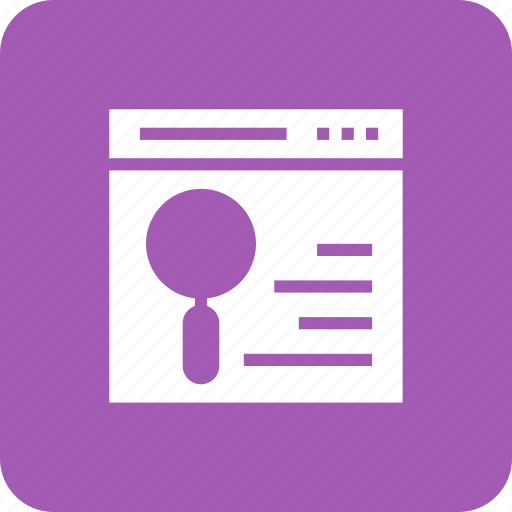 content, magnifying, page, search, web icon